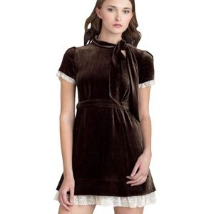Brown velvet pussy bow dress Marc by Marc Jacobs